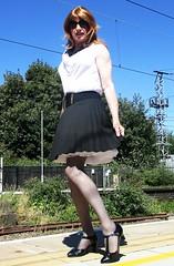 On the Platform (Amber :-)) Tags: black sunray pleated short skirt tgirl transvestite crossdressing