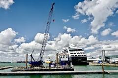 SkyCrane (Hodd1350) Tags: southampton southamptondocks hampshire crane sky clouds ships sea water stern aft pontoon workboat cruiseterminal lorry lifesavers