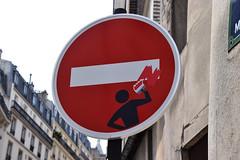 Il est interdit d'interdire (HBA_JIJO) Tags: streetart urban paris art france hbajijo wall mur painting collage sticker autocollant urbain cletabraham panneaucirculation clet humour humor drolerie