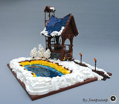 Hot Spring Outpost (jaapxaap) Tags: lego moc by jaapxaap castle winter outpost hot spring geyser dwarf snow tower blue
