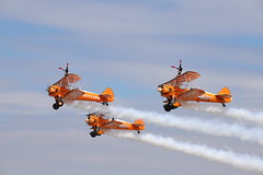 Wingwalkers - Farnborough Airshow (Andrew Edkins) Tags: wingwalkers breitling aerosuperbatic smoke people flight flying aviation farnborough airshow canon sigma july hampshire england geotagged photography 2018 light prop