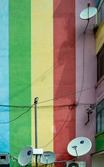 Rainbows and good reception (Leaning Ladder) Tags: elbasan albania colors mural canon 7dmkii leaningladder buildings