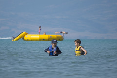 Water Fun at Every Angle (aaronrhawkins) Tags: bearlake swim swimming kids children boy girl boys girls nephews life jackets dive jump lake trampoline horizontal wade shallow deep gradual water shoreline sports ben taylor wet aaronhawkins idaho utah vacation family