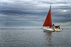 Why Doesn't This Sail Get Up? (Alfred Grupstra) Tags: nauticalvessel sea sailing sailboat water yacht outdoors sail summer sky transportation nature sailingship travel vacations mast sport recreationalpursuit cloudsky colorimage lake snekermeer