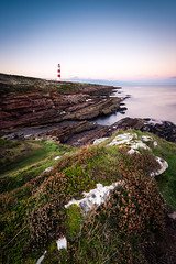 tarbat ness lighthouse II, scotland (Tafelzwerk) Tags: scotland schottland uk tarbat ness tarbatness tarbatnesslighthouse leuchtturm lighthouse klippe cliff küste coast stones steine wasser water ocean bay beach hafen wolken sky landschaft landscape langzeitbelichtung longtimeexposure d810 nikon 1635mm highlands lowlands mountain peninsula halbinsel blue hour bluehour blauestunde sonnenuntergang sunset sea rock