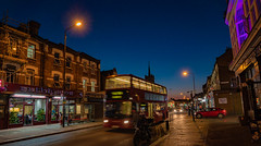 BearbeitetxDEF2018-05167 (Peter Hauri) Tags: highstreetn eastham london nightphotography highiso uk england doubledecker bus night bluehour street