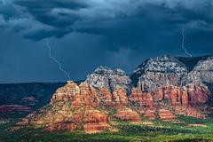 Electric Sedona (Guy Schmickle) Tags: arizona coconinonationalforest crimsoncliffs mundsmountain sedona lightning storm