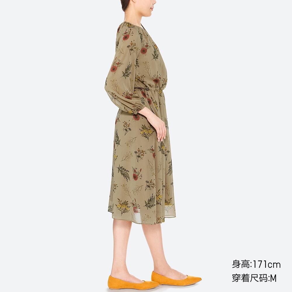 65f69969c40 Women s Chiffon print dress (long sleeves) 409090 UNIQLO UNIQLO. Cheap  Evening Dresses