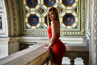 women_blonde_portrait_tanned_smiling_red_dress_tight_dress-1193038