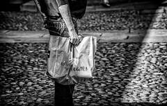Follow Your Dreams (Mister G.C.) Tags: blackandwhite bw image streetshot streetphotography photograph candid people hand bag shopping slogan message unposed monochrome urban town city sonya6000 sonyalpha a6000 mirrorless telephoto zoom lens sel18105 18105mm sonyglens sony18105mmepz f4 mistergc schwarzweiss strassenfotografie niedersachsen lowersaxony deutschland europe
