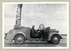 """Opel 1,3 Liter Cabriolet (Vintage Cars & People) Tags: vintage classic black white """"blackwhite"""" sw photo foto photography automobile car cars motor woman lady wife princess princesse opel opel13liter cabriolet convertible 1930s thirties flyinghelmet fashion coat"""