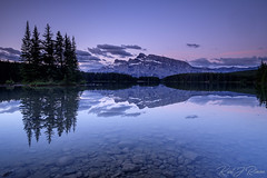 Pre Dawn at Two Jack Lake Alberta Canada (KJRphotoz) Tags: twojacklake twojack mountrundle banffnationalpark banff mountain sky water tree wood forest lake serene sunrise reflection canada canadianrockies landscape alberta
