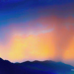 Digital Pastel Drawing of Rain at Sunset in Coconino National Forest by Charles W. Bailey, Jr. thumbnail