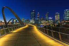 Quay to the City (Zur@imiAbro@d) Tags: perth downtown australia westernaustralia glass steel lights bluehour twilight bridge elizabethquaybridge zurimiabrod