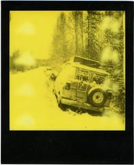 Alaskan Roadscape (Robert Drozda) Tags: fairbanks alaska road van polaroid impossibleproject yellowduochrome thirdmanrecords roidweek2018 drozda
