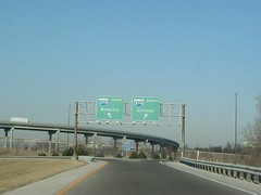 Interstate 70 West at Interstate 270 Exits (1999) (poundsdwayne47) Tags: interstate70 interstate270 exits missouri 1999 stlouis button copy signs traffic