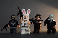 Heist (WhiteBrix) Tags: heist bank robbery citizen brick stocking cap lego bunny minifigure brickarms batman movie black canary shouting head