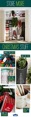 Decorating for Christmas is simpler and more convenient with clever organizing solutions. Store ornaments, bundled lights, supplies, and ribbon in neatly labeled clear bins. Wreaths, garland, and stockings are protected when hung on an adjustable closet r (Home Decor and Fashion) Tags: adjustable an bins bundled christmas clear clever closet convenient decorating for garland holidays hung is labeled lights more neatly organizing ornaments out protected ribbon rod simpler solutions stockings storage store stress supplies take these tips when with wreaths