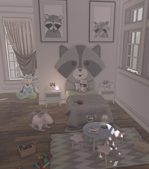 for my littles (Look? 088) (Hypnotic Fashion Blog) Tags: beedesigns beecaudron beedesign raccoons twin angelikarexen ar bedroom furniture stuff accessoires flower table bed curtain cow unicorn