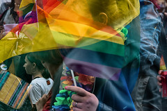 Helsinki Pride 2018 (05) (pni) Tags: multiexposure multipleexposure tripleexposure human person people being color colour flag face hand pride parade helsinki helsingfors finland suomi pekkanikrus skrubu pni