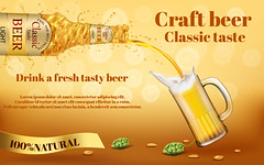 Vector realistic promotion banner for beer brand (edmcopias2018) Tags: alcohol beer bottle drink beverage brand mockup background banner poster promotion advertising template 3d realistic vector mug cup classic craft fresh golden light taste pouring swirling barley grain hops malt brewery product package label glass full foam frothy oktoberfest festival traditional natural organic illustration splash abstract sale pub bar design