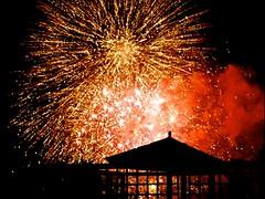 Firework Display Behind Rooftop Garden - (Irene, W. Van. BC) Tags: fireworkdisplaybehindrooftopgarden fireworks fireworksdisplay rooftops rooftopgarden ourbalcony balcony sky skies skyscenes outdoors outdoorscenes red explosions 1001nights 1001nightsmagiccity 1001nightsmagicwindow