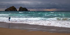 Nice day for a dip! (Andrew Hocking Photography) Tags: holywell bay cornwall newquay seascape paddling paddle seaside coast ocean sea water waves sunset cloud storm sky godrays