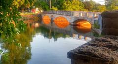 golden arches (DeZ - photolores) Tags: lg5 royalcitypark gowsbridge water guelphcanada reflection stone hdr dez trees park bridge architecture arch