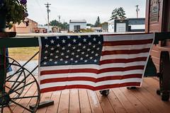 Pine River Depot - American Flag, Minnesota (Tony Webster) Tags: americanflag heritagegroupnorth minnesota pineriver pineriverdepot usflag flag historic preservation unitedstates us