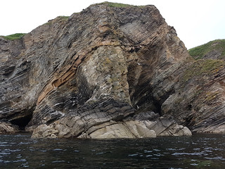 Tilted rock strata, Port na Muic, south of Forse.