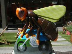 Manchester Bee. — Bee-sy Rider (rossendale2016) Tags: outdoor bars restaurant cafe crowncourt court crown attraction holiday tourist colourful colour charitable charity ploy marketing clever iconic icon square motorcycle cycle motorbike bike motor bee manchester