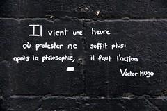 Action (1862) (just.Luc) Tags: monochrome monochroom monotone quote citaat citation victorhugo france frankrijk frankreich francia frança wall muur mur mauer europa europe think political protest bordeaux gironde nouvelleaquitaine
