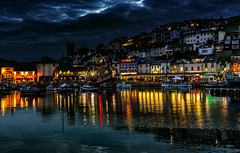 Brixham Night (Karl Ruston) Tags: harbour brixham devon reflections boats water sea ocean village landscape outdoor southcoast boat sunset sky bay city building mountain dusk