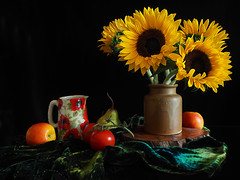 Still Life with Sunflowers (Smiffy'37) Tags: stilllife full fruit flowers sunflowers pots blackbackground colourful