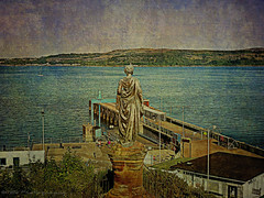 Highland Mary (Rollingstone1) Tags: heilanmary highlandmary dunoon scotland robertburns harbour port ferry terminal firthofclyde sea water boat hills sky skyline landscape seascape art artwork marycampbell