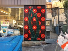Prickly City (misterbigidea) Tags: explore reflection store window green blue protrerohill beauty neighborhood sidewalk colors cityscape urban city building artwork art cactus street red circles