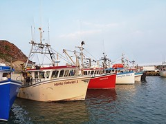 Day 3 - Lobster boats in Pointe Basse on Havre aux Maison Island (Bobcatnorth) Tags: lesilesdelamadeleine magdalenislands quebec canada summer 2018 cycling velo bicycle bicycling cycletouring bicycletouring touring tourdevelo gulfofstlawrence