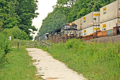 Meet Me at Maple Grove Park (craigsanders429) Tags: norfolksouthern passingtrains nsclevelandline hudsonohio stacktrains nsstacktrains intermodaltrains maplegrovepark norfolksoutherntrains nsmotivepower nslocomotives