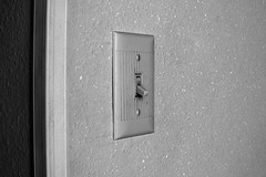 Light Switch (Curtis Gregory Perry) Tags: light switch off plate black white monochrome bw nikon d810
