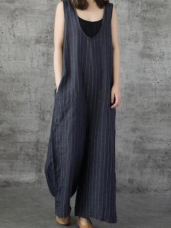6010a6527d3 Women Sleeveless Wide Leg Loose Linen Cotton Harem Jumpsuit (1324072)   Banggood (SuperDeals