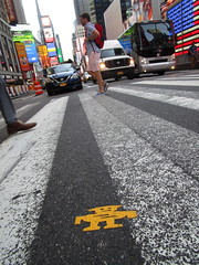 Short Stikman Yellow Robot Tile Times Square NYC 7086 (Brechtbug) Tags: a return stikensian era robot tile stikman broadway times square nyc street art graffiti tag tagging stencil cut out toynbee stickman asphalt figurative school flat action figures new york city 08102018 cross walk smoke 2018 stik man men curious streets summer heat august yellow