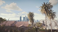 City Sunrise | GTA V (Stellasin) Tags: angeles gaming game dark darkness car cars beauty beautiful buildings blur city clouds downtown mods weather reflection graphics gta gtav grass hot highway photography sky los mountains night road trees screenshot sun sunrise sunset v
