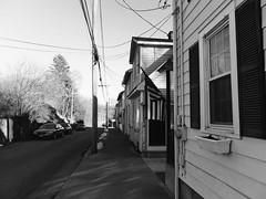 I felt the United States of America. (heroyama) Tags: america usa monochrome bw blackwhite house home road street flag shadow sky contrast