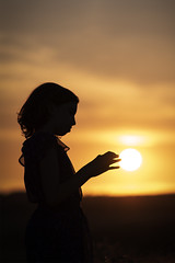 Touching the Sun (Duncan Lawler) Tags: isabella westsussex halnaker sunset sun eveningglow silhouette youngmodel
