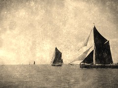 Thames Sailing Barges (Nanooki ʕ•́ᴥ•̀ʔっ) Tags: sepia barge boat 2018 2018thamessailingbargematch aged traditional