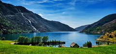 Åkrafjorden, Norway (Vest der ute) Tags: xt20 norway etne kvinnherad fjord waterfall langfossen grass sea seascape landscape house boat summer bluesky sky mountain trees tree fav25 fav200
