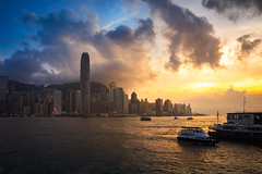Victoria harbour at sunset, Hong Kong skyline (Patrick Foto ;)) Tags: architecture asia background beautiful beauty blue building business busy china chinese city cityscape cloud culture day district downtown ferry finance financial harbor harbour hong hongkong kong landscape modern night office peak scene sea sky skyline skyscraper sunlight sunrise sunset tall tourism tower traditional travel urban vacation victoria view water white kowloon hk