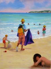 Vu cumprà - oil painting (Renoil L.) Tags: venditoreambulante spiaggia mare colori estate tirrenia persone acqua martirreno oilpainting