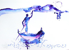 AFRICA TO THE NAKED 362 (eduard muntada) Tags: africa to the naked oxid 362 africanpeople river boat mountains sun light basic minimal drawing art picture blue purple