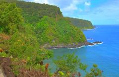 Kalaloa Point (Kirt Edblom) Tags: maui mauihawaii hanahighway coast coastline northcoast gaylene wife milf water pacific pacificocean ocean green tree trees waves clouds blue bluesky kirt kirtedblom easyhdr edblom hdr nikon nikond7100 nikkor18140mmf3556 landscape seascape bay forest sky bluff cliff